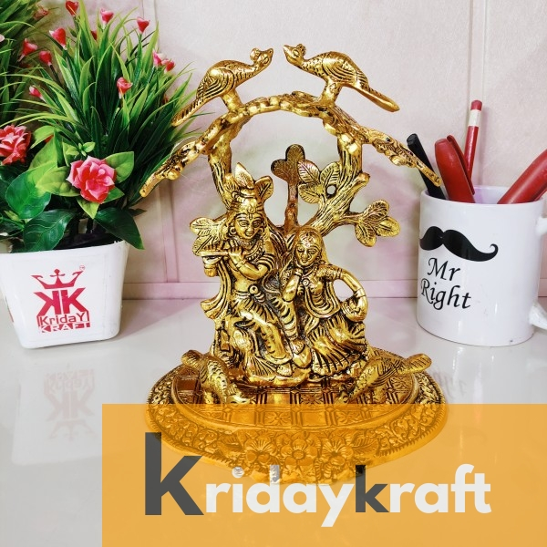 Radha Krishna Playing Flute Under Tree Idol Gold Antique Finish for Home,Office &Table Decorative Gift for Have House Warming, Birthday...