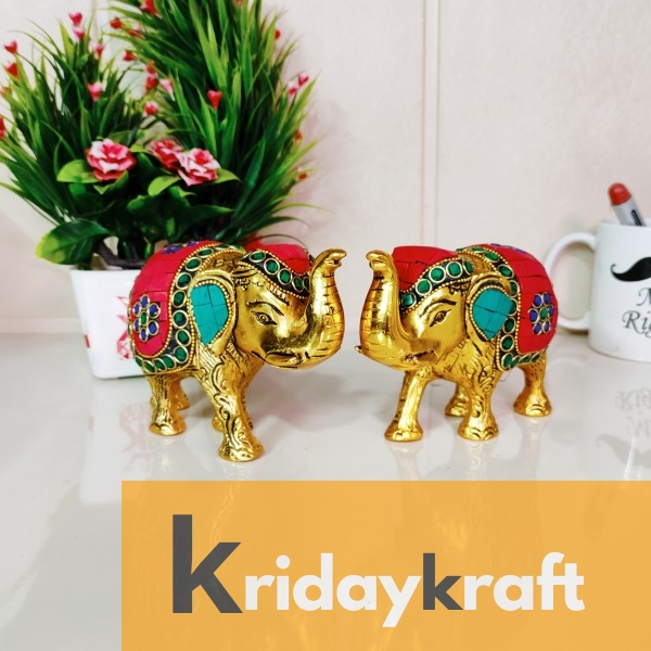 Metal Elephant Medium Size with Stone Work 2 pcs Set for Showpiece Enhance Your Home,Office & Table and Gift for Have House Warming Anniversaries, Birthday...