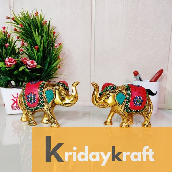 Metal Elephant Small Size with Stone Work 2 pcs Set for Showpiece Enhance Your Home,Office & Table and Gift for Have House Warming Anniversaries, Birthday... Brand: KridayKraft