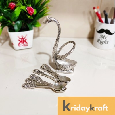 Metal Swan (Duck) Silver Spoon Stand for Dining Table/6 Pc Spoon Set with Stand/Decorative Spoon Rest Showpiece Item for Dining Table.