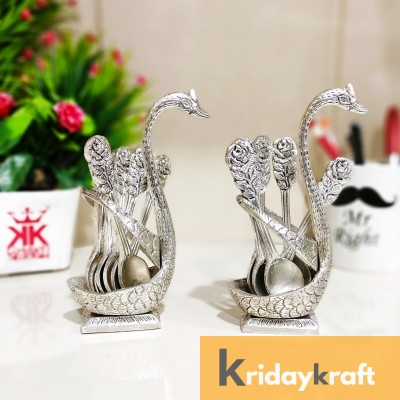 Metal Swan (Duck) Silver Spoon Stand for Dining Table/12 Pc Spoon Set with Stand/Decorative Spoon Rest Showpiece Item for Dining Table.
