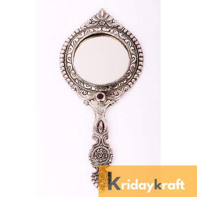 Beautifully Carved Round Shape Silver Plating Hand Mirror for Makeup, Travelling, Salon Mirror & Decorative Mirror Antique Item for Wedding Gifts...