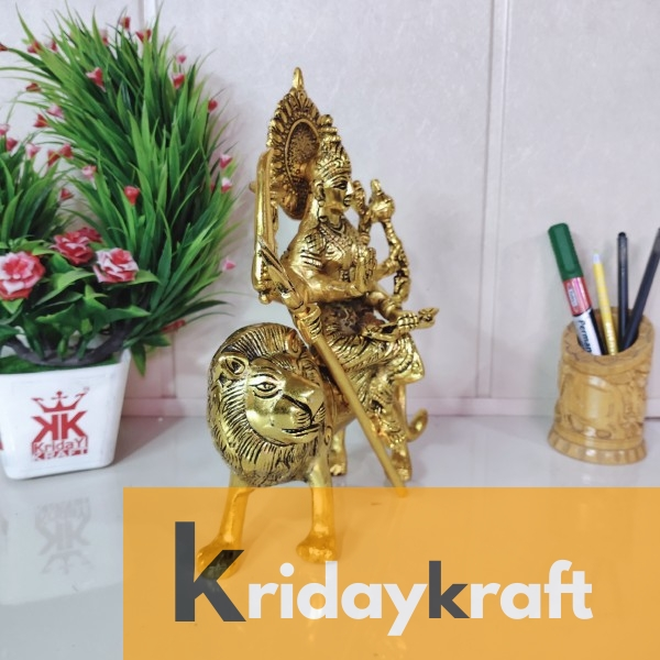 Gold Plated Durga Maa,Shero vali maa Statue for Pooja Room Decorative for Table & Office Gift for Have House Warming Anniversaries, Birthday, Wedding Gifts, Return Gifts...