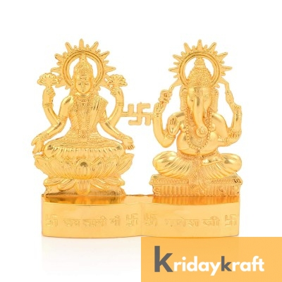 Gold Plated Decorative Laxmi Ganesha Set Hindu Idols Ganesh Lakshmi Statue