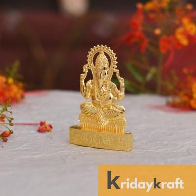 Gold Plated Ganesha Idol Car Dashboard Showpiece