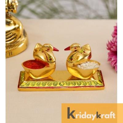 Roli-Chandan, Chawal-Akshat-Haldi, Kumkum Box with Loving Bird Duck Pair Chopda meenakari