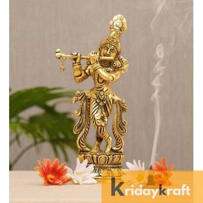 Lord Krishna Idol Statue Krishna Idols Gold Plated Flute Playing Krishan Decorative Showpiece Figurine for Pooja Room & Gift