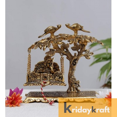 Krishna jhula palna sitting under tree laddu gopal makhan chor kahna gold plated