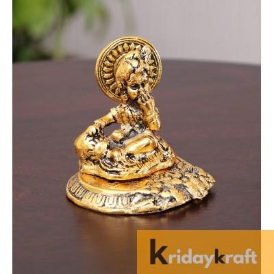 Krishna sitting on metal base laddu gopal , bal gopal kanha gold plated