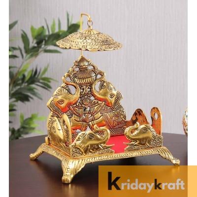 Metal Laddu Gopal Jhula singhasan gold plated elephant embose