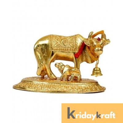 Kamdhenu Cow Mini Ovel base Gold Plated