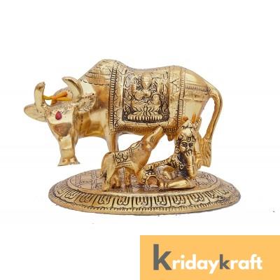 Kamdhenu Cow with calf and Krishna gold oxidized Finish Medium Size