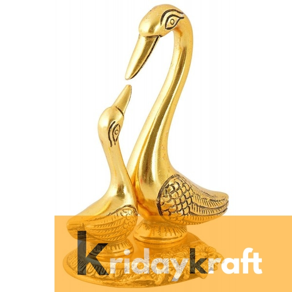 Swan Pair showpiece handicrafts Pair of Kissing Duck swan Pair feng Shui | Love Birds Saras Pair Gold polish with metal base for Home Decor and Gift Purpose