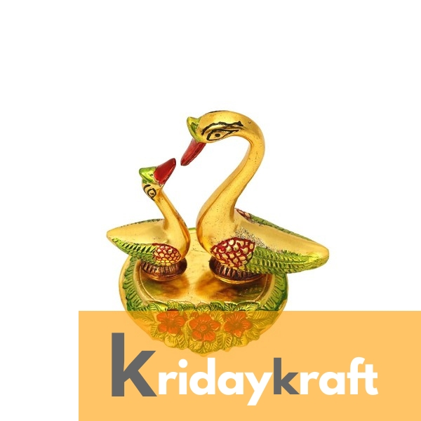 Swan Pair showpiece handicrafts Pair of Kissing Duck swan Pair feng Shui | Love Birds Saras Pair Gold polish Meenakari with metal base for Home Decor and Gift Purpose