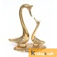 Swan Pair showpiece handicrafts Pair of Kissing Duck swan Pair feng Shui | Love Birds Saras Pair metal base large size Gold Polish for Home Decor and Gift Purpose