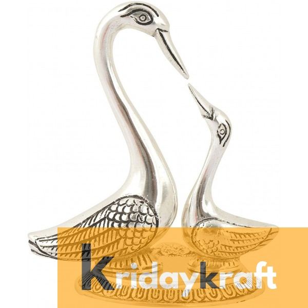 Swan Pair showpiece handicrafts Pair of Kissing Duck swan Pair feng Shui | Love Birds Saras Pair Silver Polish with metal base for Home Decor and Gift Purpose