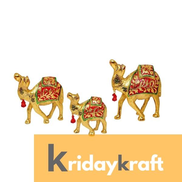 Metal Animal Figurine Camel Set Meenakari