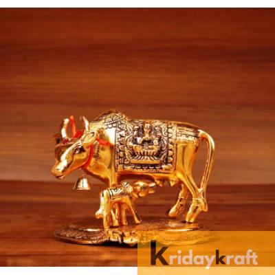 Kamdhenu Cow with calf gold oxidized Finish Medium Size