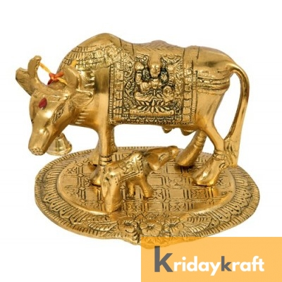 Kamdhenu Cow with calf gold oxidized Finish Medium Size