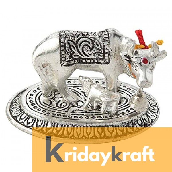 Kamdhenu Cow Mini Ovel base Silver Plated