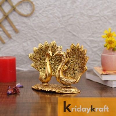 Metal Animal Figurine Peacock Pair Decorative Statue for Table Decor Golden