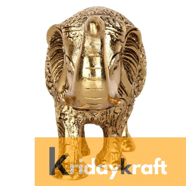 Metal Elephant Large Size Gold Polish for Showpiece Enhance Your Home