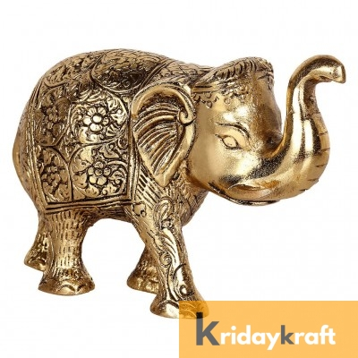Metal Elephant Small Size Gold Polish for Showpiece Enhance Your Home