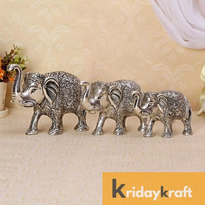 Metal Elephant 3 Pcs Set Silver Polish for Showpiece Enhance Your Home