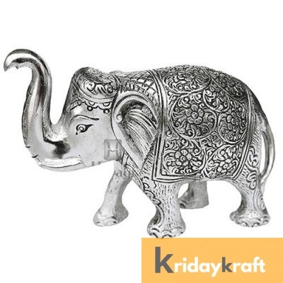 Metal Elephant Large Size Silver Polish for Showpiece Enhance Your Home