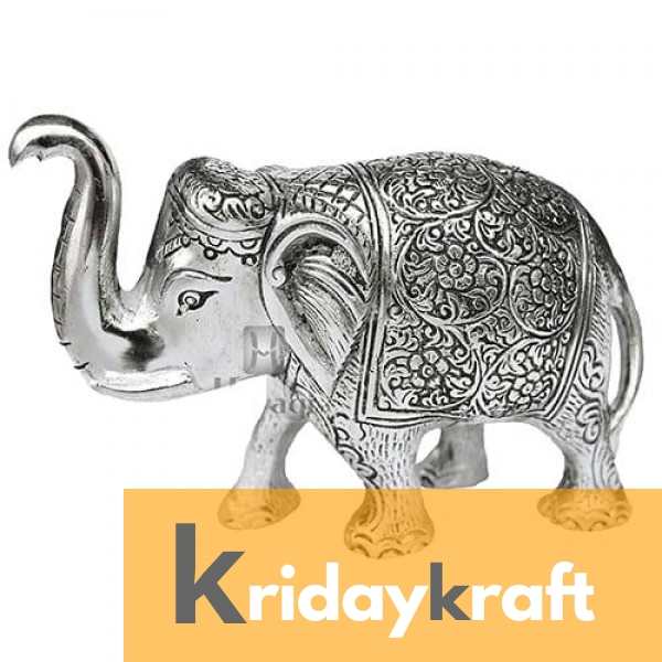 Metal Elephant Small Size Silver Polish for Showpiece Enhance Your Home