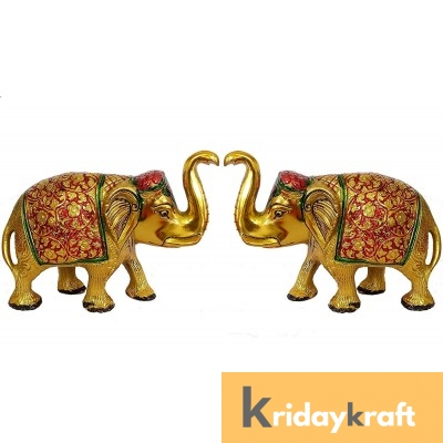 Metal Elephant Medium Size 2 pcs Set Gold Polish with menakari for Showpiece Enhance Your Home