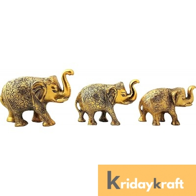 Metal Elephant 3 Pcs Set Gold Polish for Showpiece Enhance Your Home
