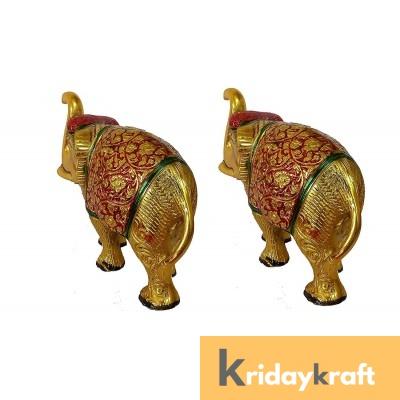 Metal Animal Figurine Elephant  Menakari Set gold plated 2 pcs set for home decor