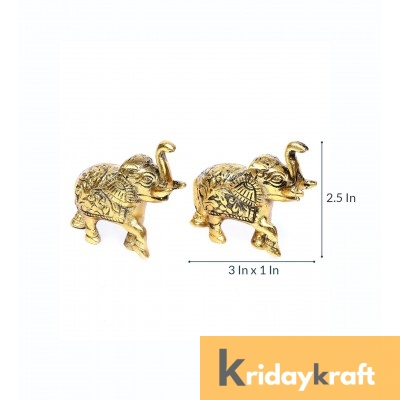 Metal Animal Figurine Elephant Set Mini size gold plated 2 pcs set for home decor
