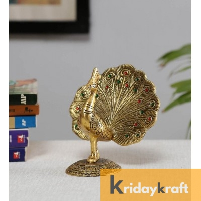 Metal Animal Figurine Dancing Peacock for Home Décor Gold Plated antique