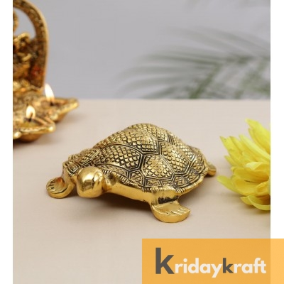 Metal Animal Figurine Tortoise feng-shui Big Antique Gold Plated