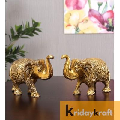 Metal Animal Figurine Elephant Set gold plated 2 pcs set for home decor