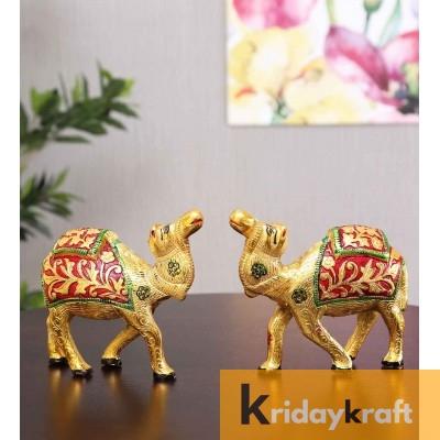 Metal Animal Figurine Camel Set Meenakari 2 pcs set  for home decor