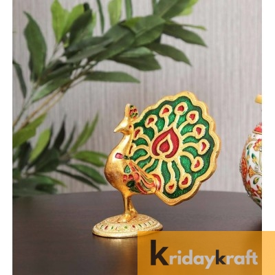 Metal Animal Figurine Dancing Peacock for Home Décor Gold Plated menakari