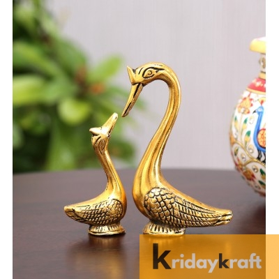 Swan Pair showpiece handicrafts Pair of Kissing Duck swan Pair feng Shui | Love Birds Saras Pair Gold Polish for Home Decor and Gift Purpose