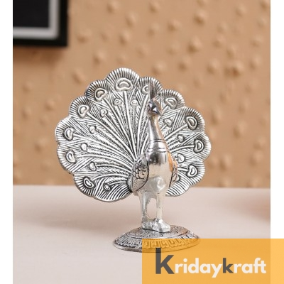 Metal Animal Figurine Dancing Peacock for Home Decor Silver Plated antique