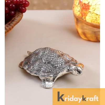 Metal Animal Figurine Tortoise feng-shui Big Antique Silver Plated
