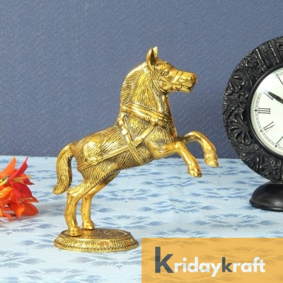 Metal Animal Figurine jumping horse 2 pcs set gold plated for home decor