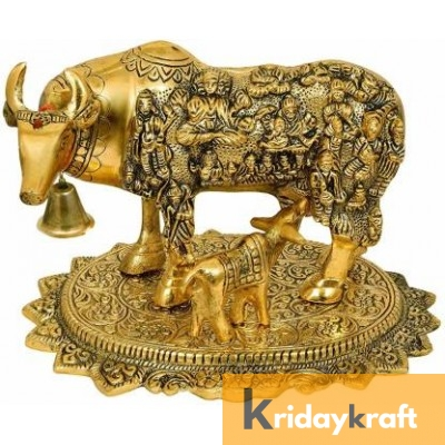 Kamdhenu Cow and calf God-dess nandani gold plated