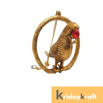 Metal Animal Figurine Door Hanging Ring Parrot XL Showpiece Golden