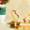 Swan Pair showpiece handicrafts Pair of Kissing Duck swan Pair feng Shui | Love Birds Saras Pair Gold polish Meenakari with metal base for Home Decor and Gift Purpose