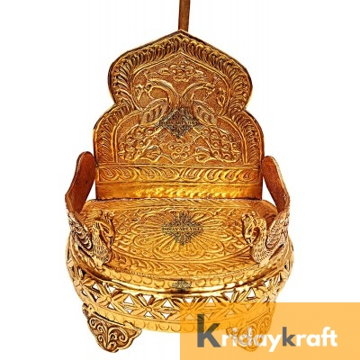 Handmade Peacock Design Brass Round Singhasan Chair of God, Temple Gold Plated
