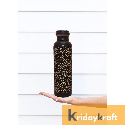 Copper Bottle for Water 1 Litre black base printed, Dirt Proof, Leak Proof and Joint Less, Ayurveda and Yoga Health Benefits Water Bottle