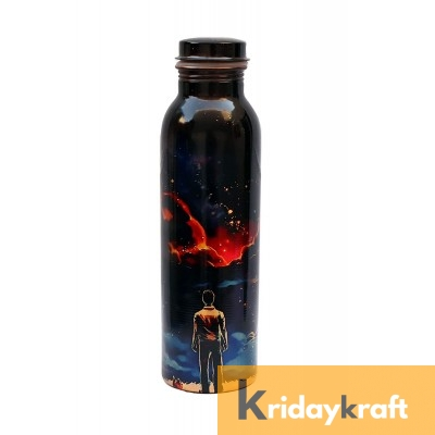 Copper Bottle for Water 1 Litre printed, Dirt Proof, Leak Proof and Joint Less, Ayurveda and Yoga Health Benefits Water Bottle