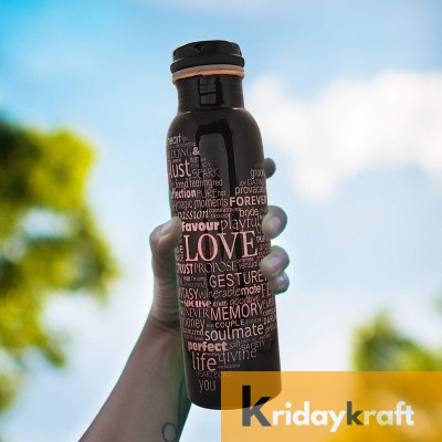 Copper Bottle for Water 1 Litre love print Dirt Proof, Leak Proof and Joint Less, Ayurveda and Yoga Health Benefits Water Bottle